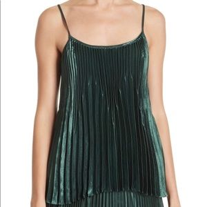 Pleated tank top in a rich forest green